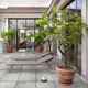 outdoor tile / floor / porcelain stoneware / plain