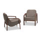 contemporary armchair / with armrests / fabric / leather