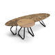 contemporary coffee table / walnut / marble / round