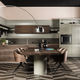 contemporary kitchen / solid wood / lacquered wood / walnut