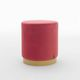 contemporary pouf / velvet / synthetic leather / round