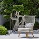 contemporary armchair / fabric / iroko / aluminum