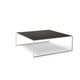 contemporary coffee table / Macassar ebony / polished stainless steel / brushed stainless steel