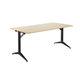 contemporary table / powder-coated steel / laminate / melamine
