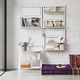 wall-mounted shelving system / hanging / contemporary / wooden