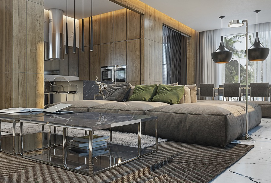 4 Masculine Apartments with Super Comfy Sofas and Sleek Color ...