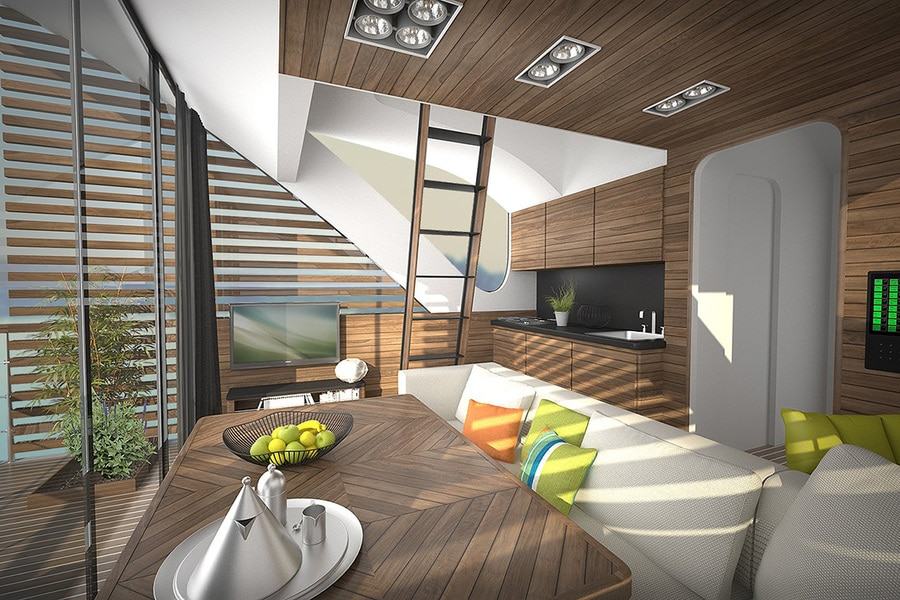 The Catamaran Apartments Contain A Living Room Dining Area And Upstairs Sleeping Space