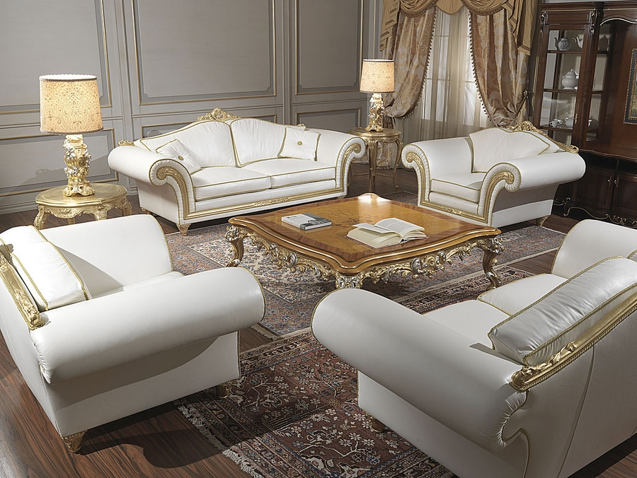 Collections Classic Sofas Model Imperial In White Leather.