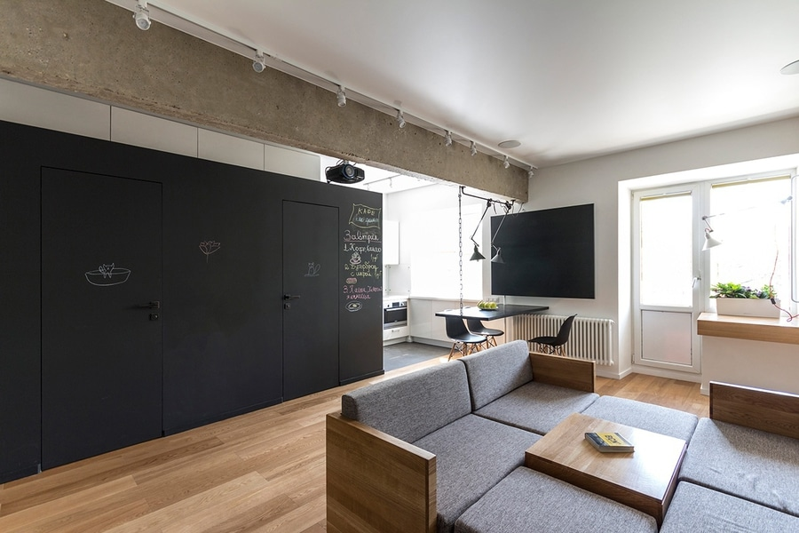 Even the walls offer endless customization opportunities coated in a chalkboard marker surface
