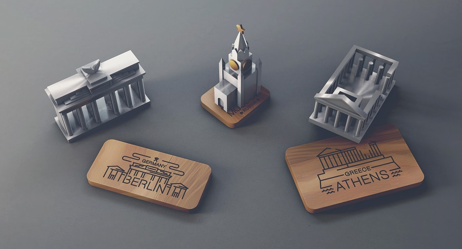 Jsouv a beautifully minimalist souvenir set depicting architectural landmarks