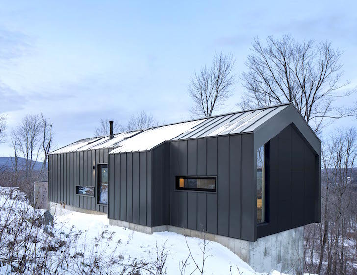 Minimalist Steel Cabin Floats Above A Rugged Slope In Quebec