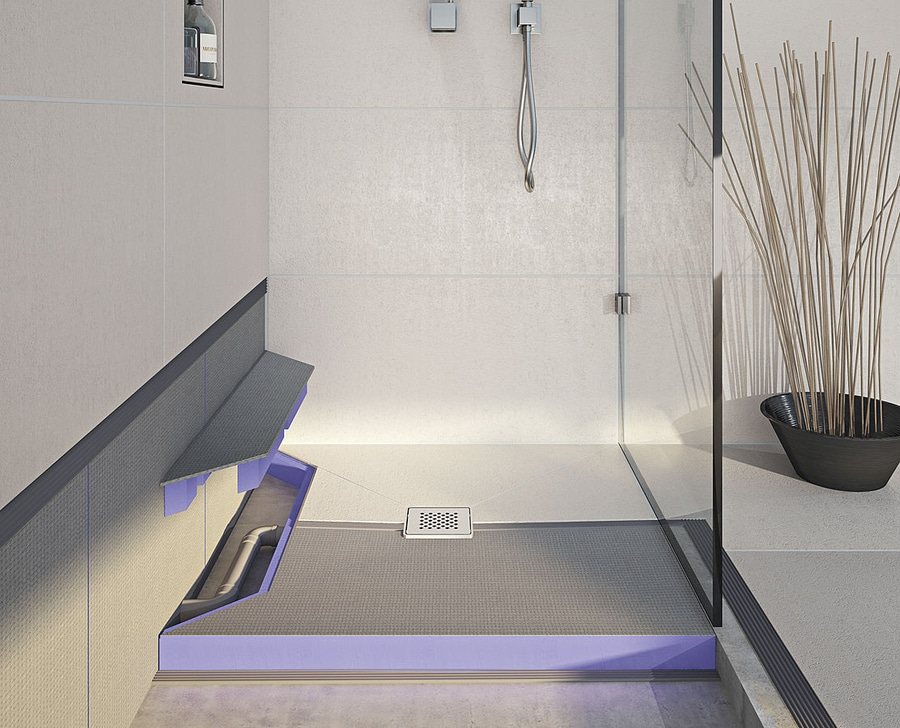 new jackoboard aqua reno a tileable floor level shower base with builtin drainage