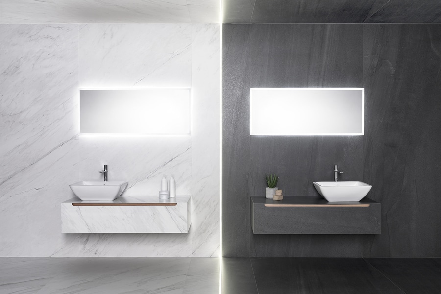 the new tile bathroom furniture series clad in xlight premium porcelain tile material