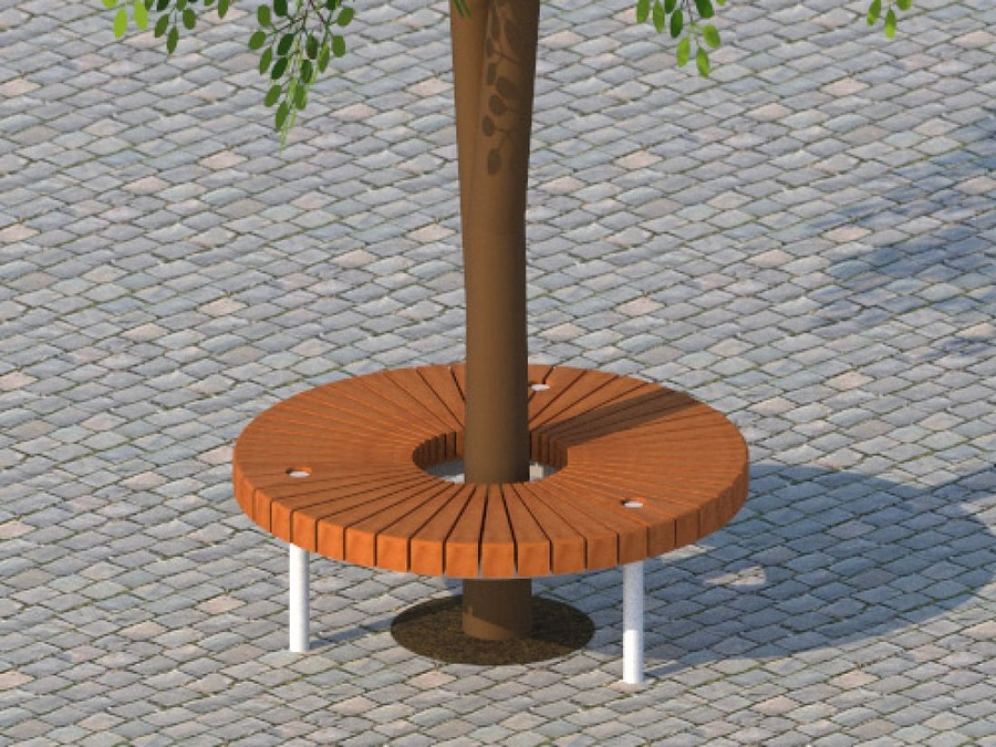 NEW: Tree Guard With Integrated Public Bench By ANAE Street Furniture