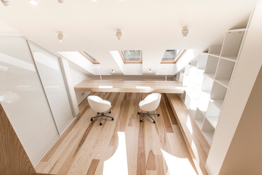 The office is amazingly bright and functional complete with abundant storage to the right and