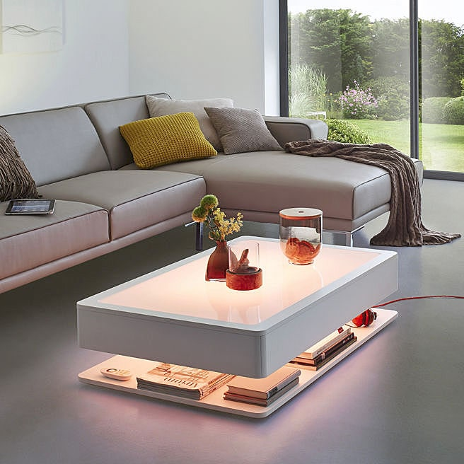 Ora Home Coffee Table Led Furniture With Stylish Storage Space Moree