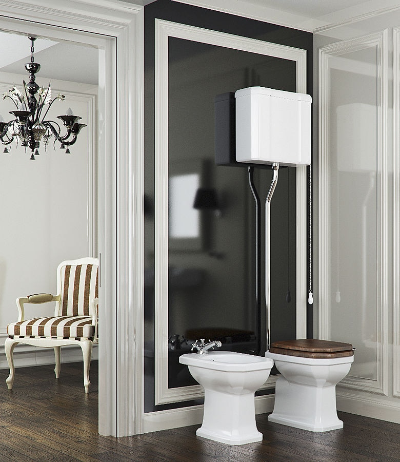 Retro style wc with high level cistern : chic & trendy! - BLEU ...