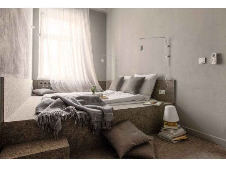 Small Bedroom Design Idea – A wall-to-wall built-in platform bed ...