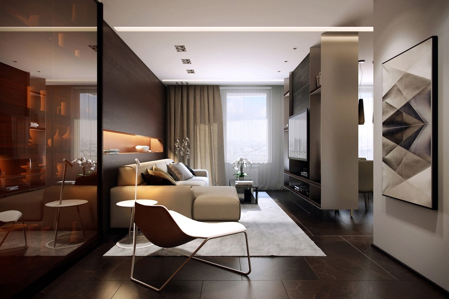 Sophisticated family apartment with rich wood accents includes floor plan