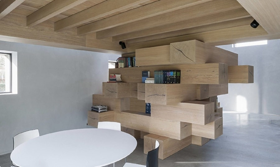 Stacked Timber Beams Act As Multi Use Office Furniture In This .