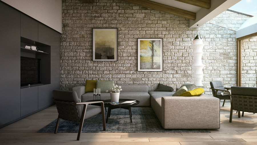 This Classic Stone Wall Treatment Provides An Interesting Contrast To The  Modern Furnishings And Helps To Part 36