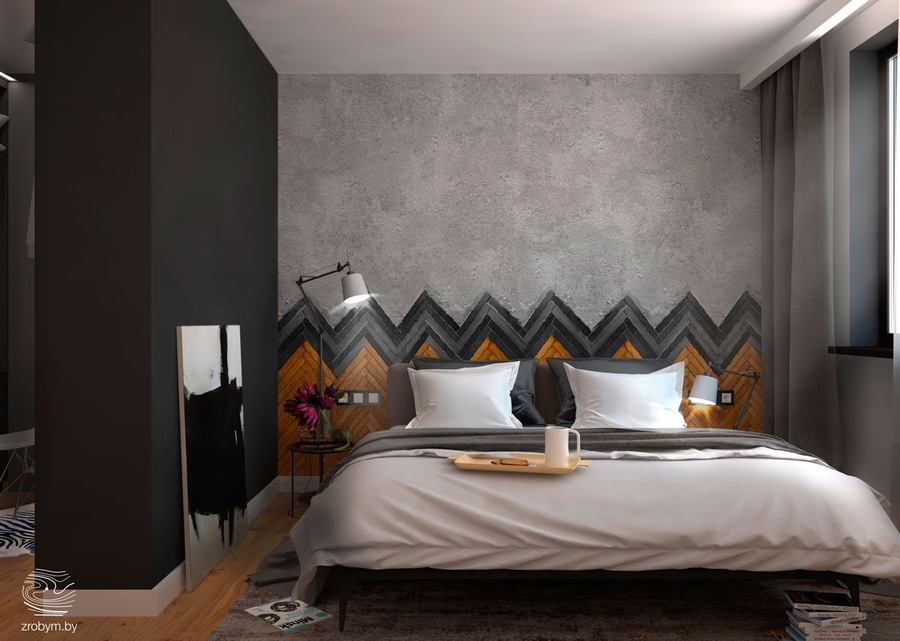 Wood And Tile Herringbone Sets The Backdrop For This Dark, Comfortable  Bedroom. Matte Black