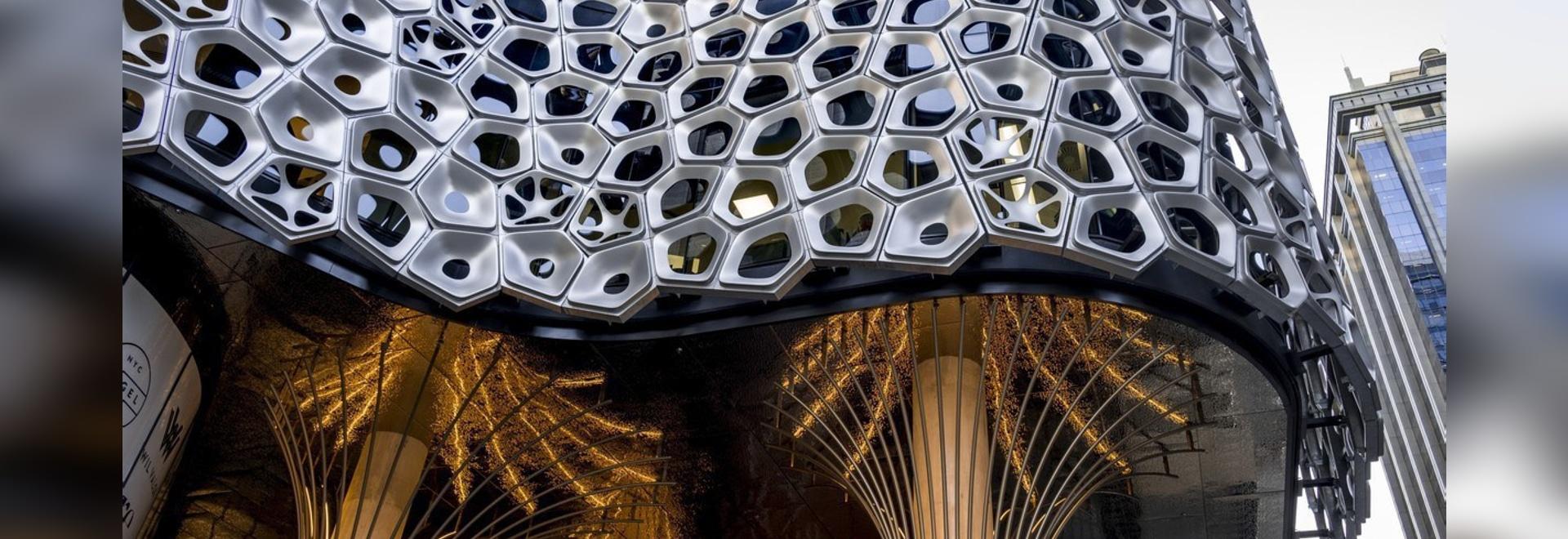 2500 Aluminum Panels Make Up This Sculptural Facade By Australian Artist Alexander Knox