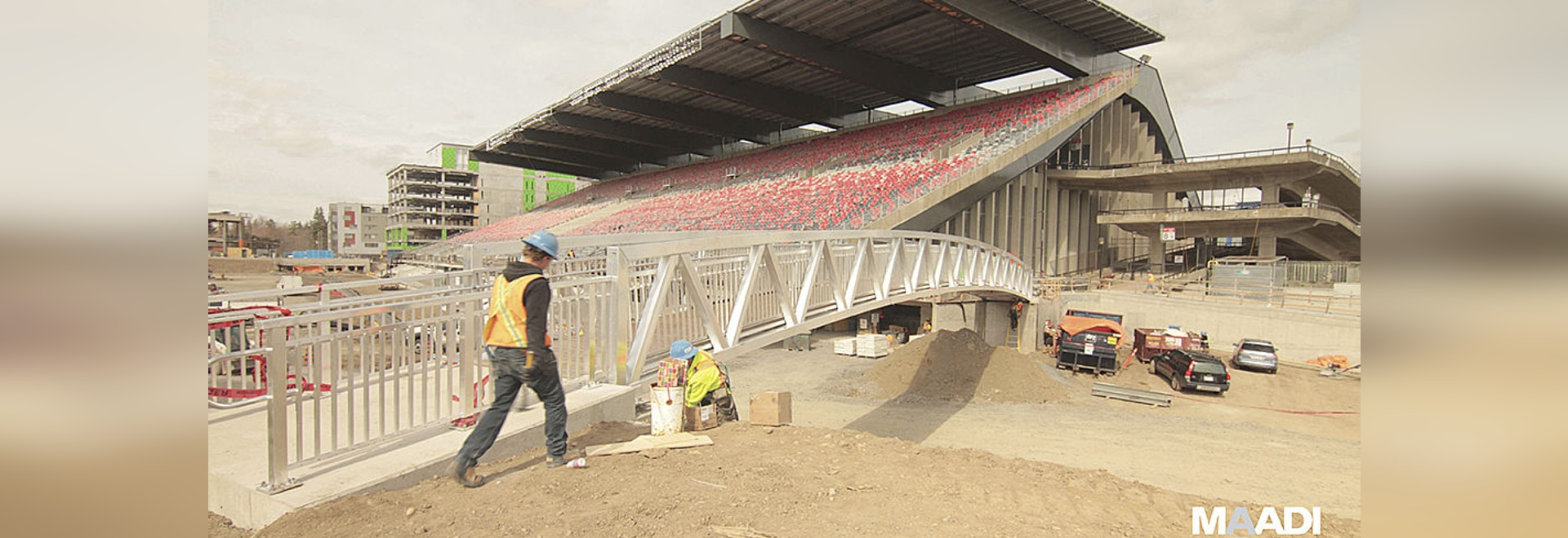 ALUMINUM BRIDGE IS PEDESTRIAN GATEWAY TO TD PLACE STADIUM COMPLEX