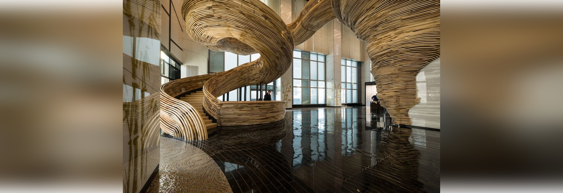 An Amazingly Sculptural Spiral Staircase Has Been Installed In The Lobby Of  This Office Building