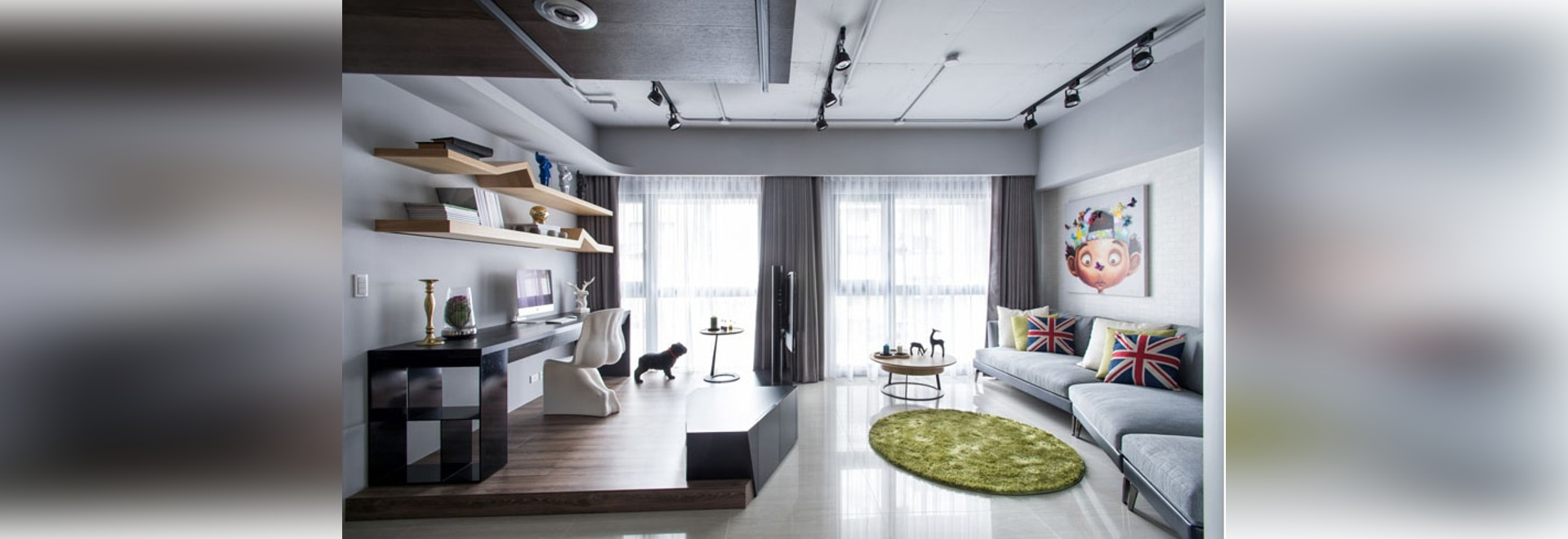 Apartment Design Idea – Divide Space By Slightly Elevating An Area
