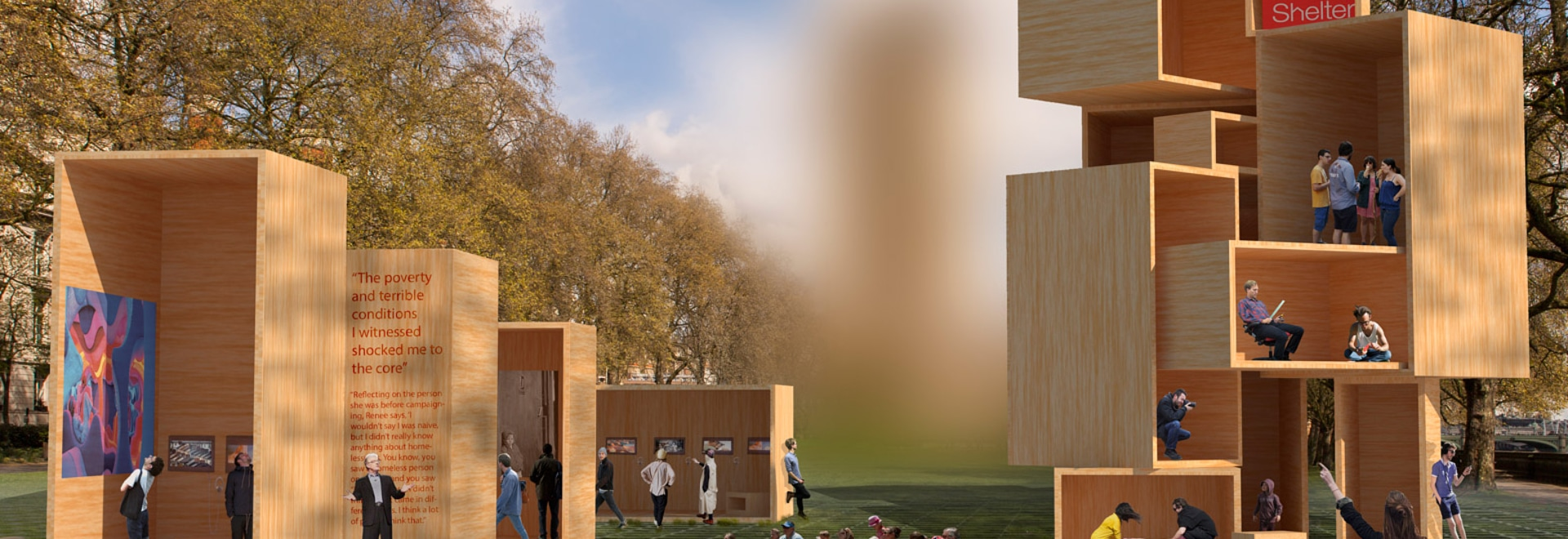 The Baboushka boxes installation by dRMM aims to address the topic of housing and the future of living spaces