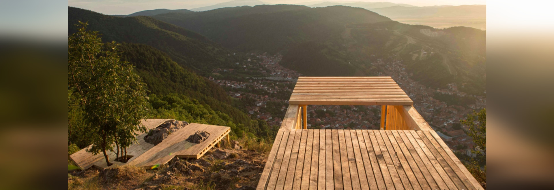 camposaz's wooden landing encourages rest and reflection in romania