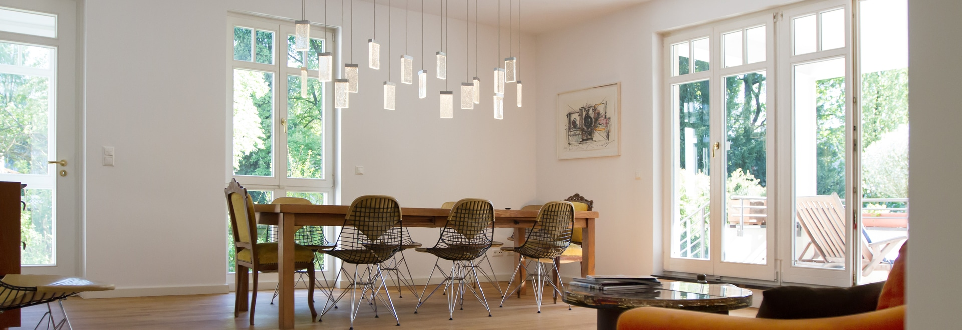 Canopy with 17 GRAND CRU pendants for the dining table. & Canopy with 17 GRAND CRU pendants for the living room table ...
