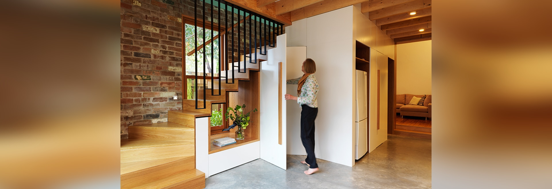 Design Detail – A Cut-Out Was Created Underneath The Stairs To Allow Light To Travel Through