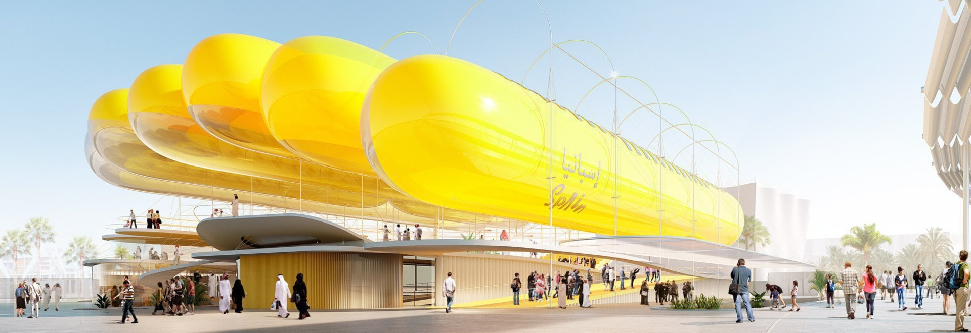 expo 2020: selgascano + FRPO propose canopy of inflatable cylinders for spanish pavilion