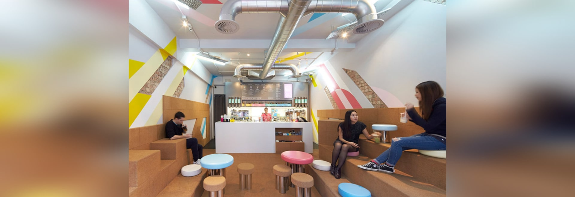 gundry & ducker's bubble tea cafe features cork seats and stripy