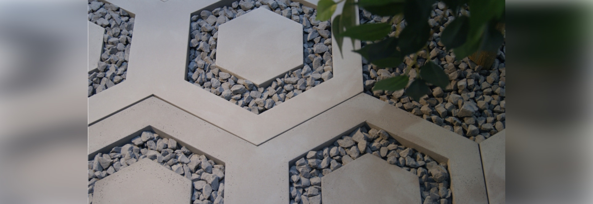 Hexagonal slab made out of architectural concrete.