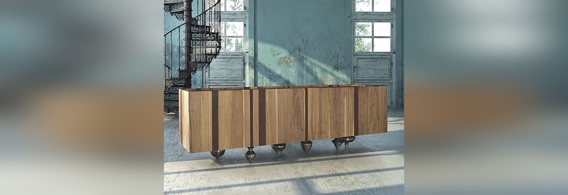 IL PEZZO 1 CREDENZA numbered piece made of solid walnut