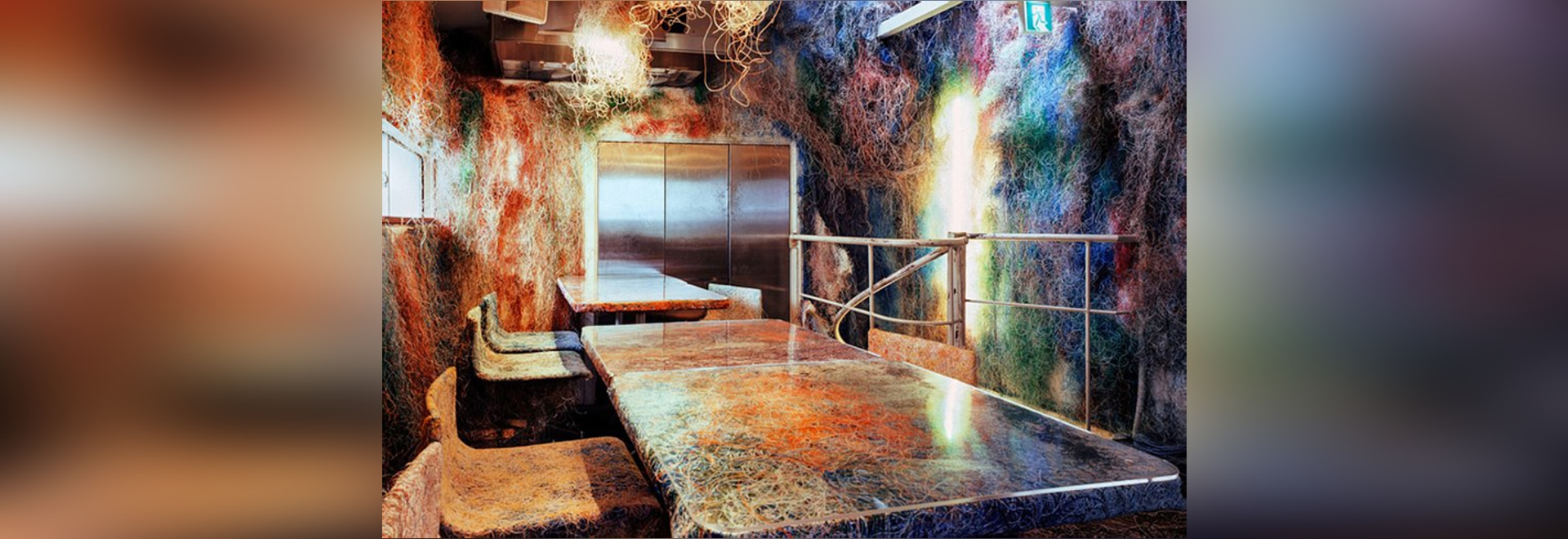 Kengo Kuma's striking renovation of a Tokyo eatery is made from thousands of re-used multicolored cables