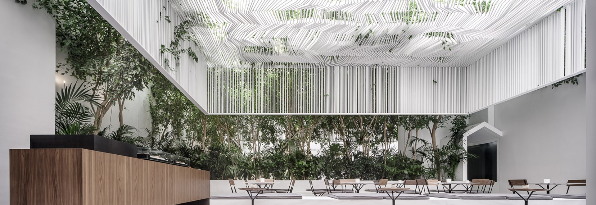 kois associated architects hang sculptural ceiling canopy over museum café in athens & kois associated architects hang sculptural ceiling canopy over ...