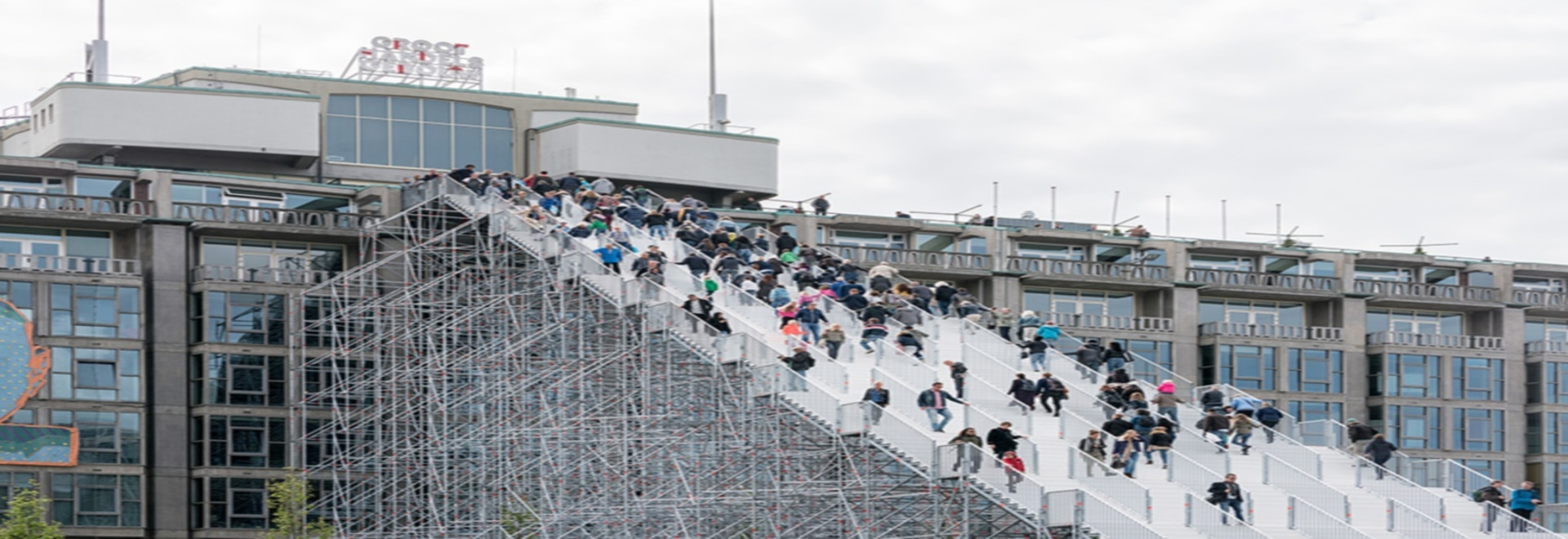 MVRDV's giant scaffold staircase in rotterdam opens to the public