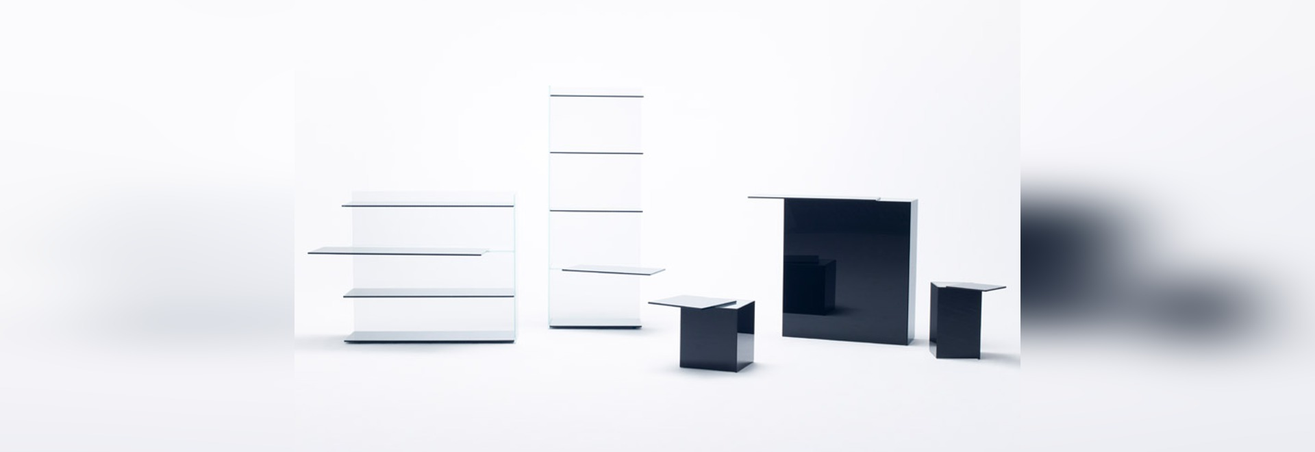 Nendo shifts shelves and surfaces for Slide glass furniture