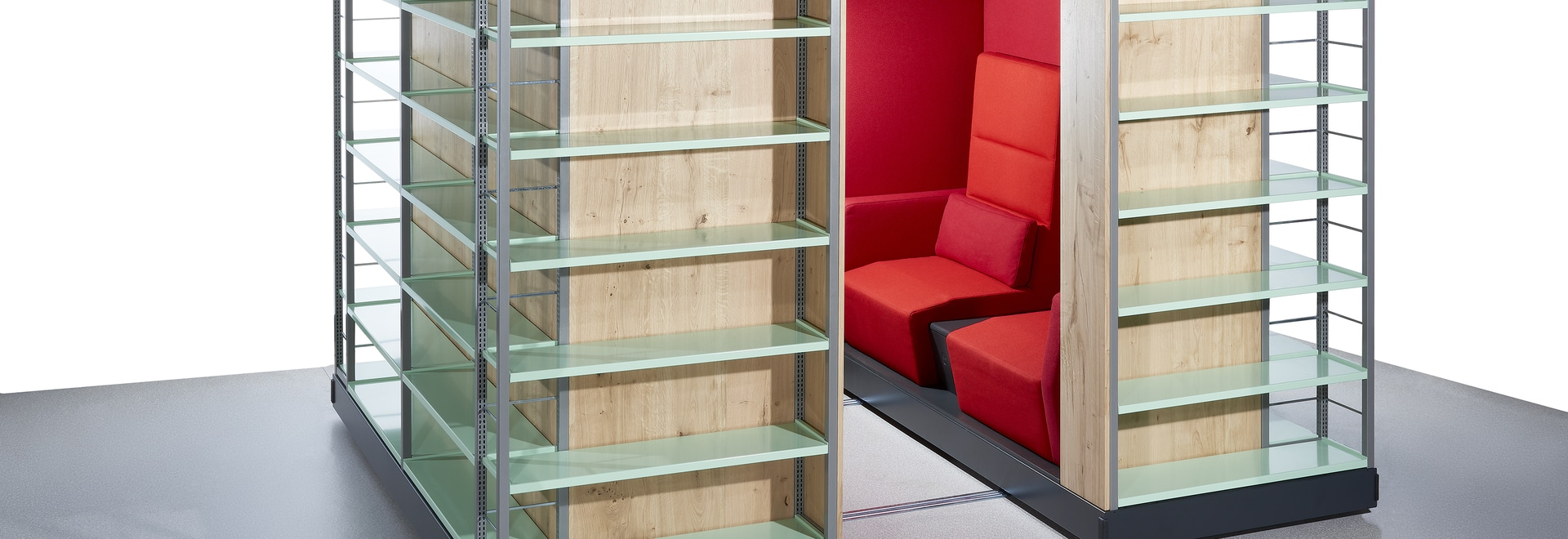 The new product Zambelli Pazio combines bookshelf and effective area.