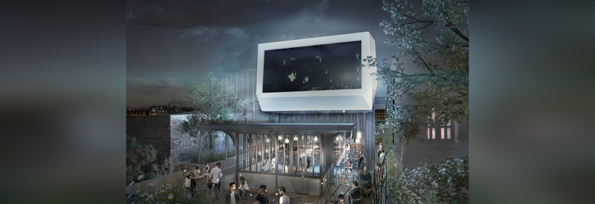 olivier palatre's cinema for réinventer paris topped with rooftop terrace