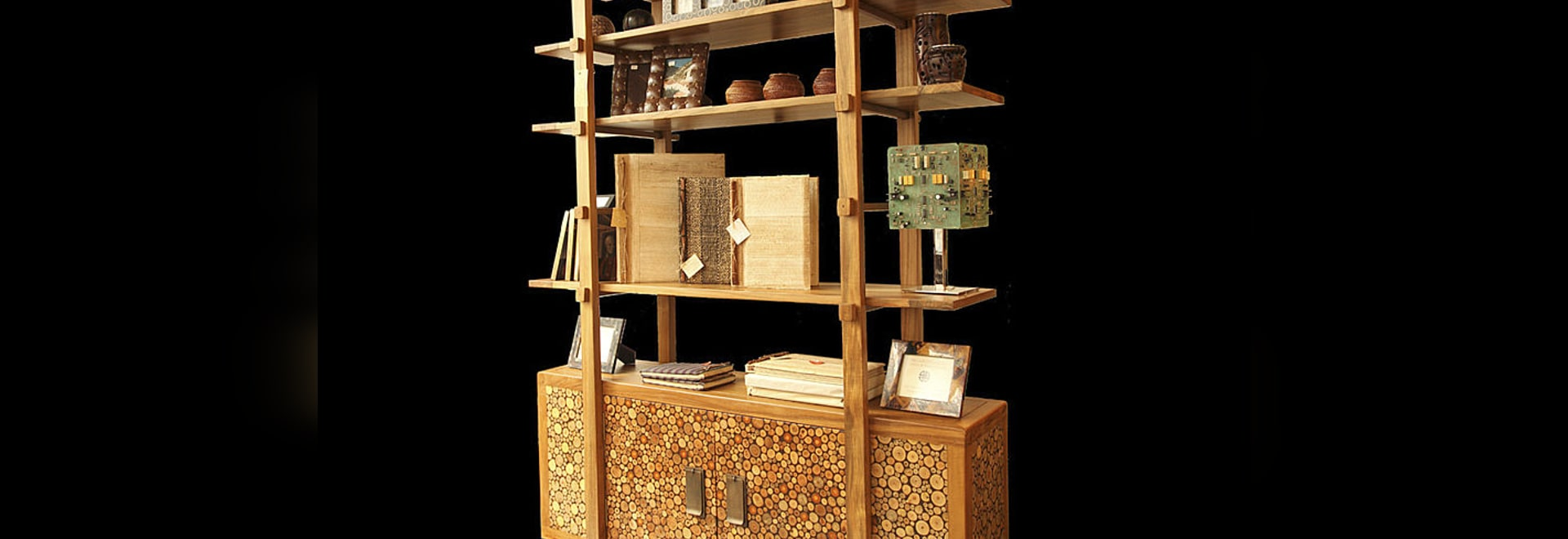 Open Ended Shelving Unit with Mosaic Cabinet.