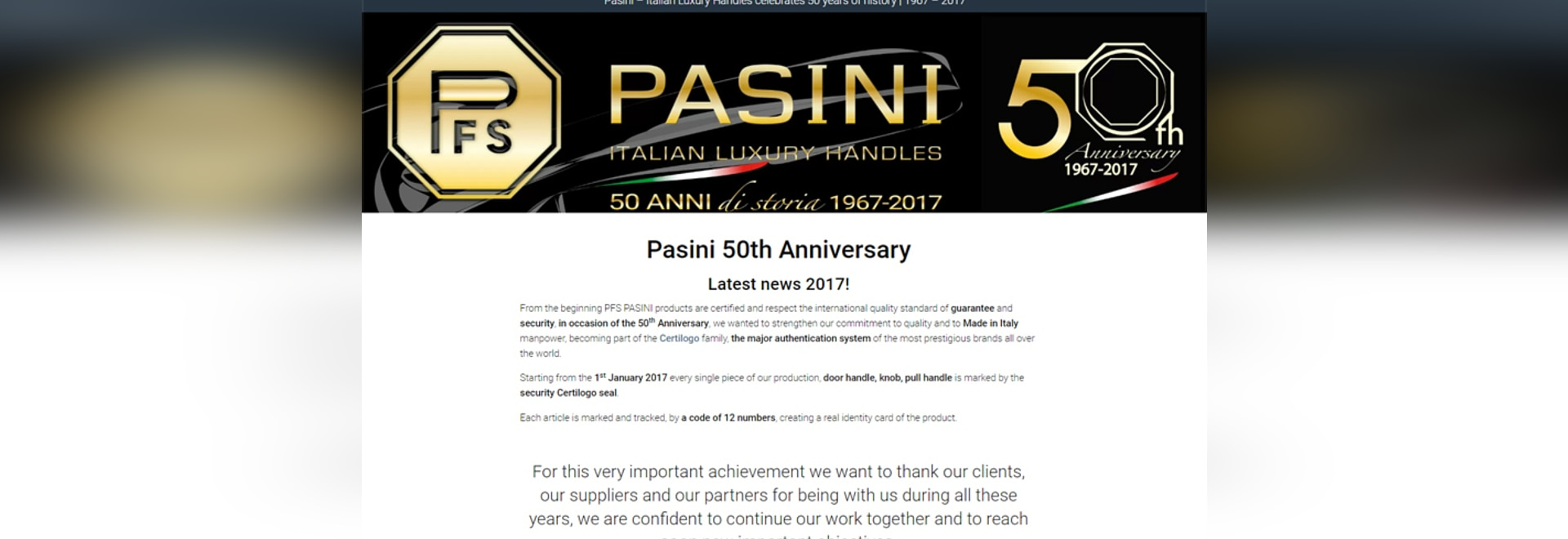 Pasini 50th Anniversary
