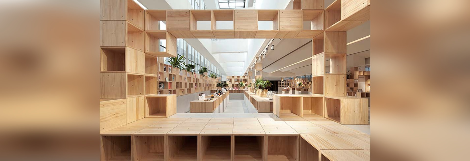 penda develops pixelated wooden interior for chinese tech store - Pixelated Interior Design