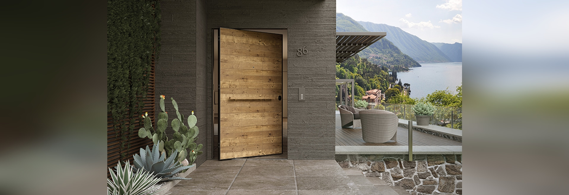 Pivot security door with aged oak finishing panel