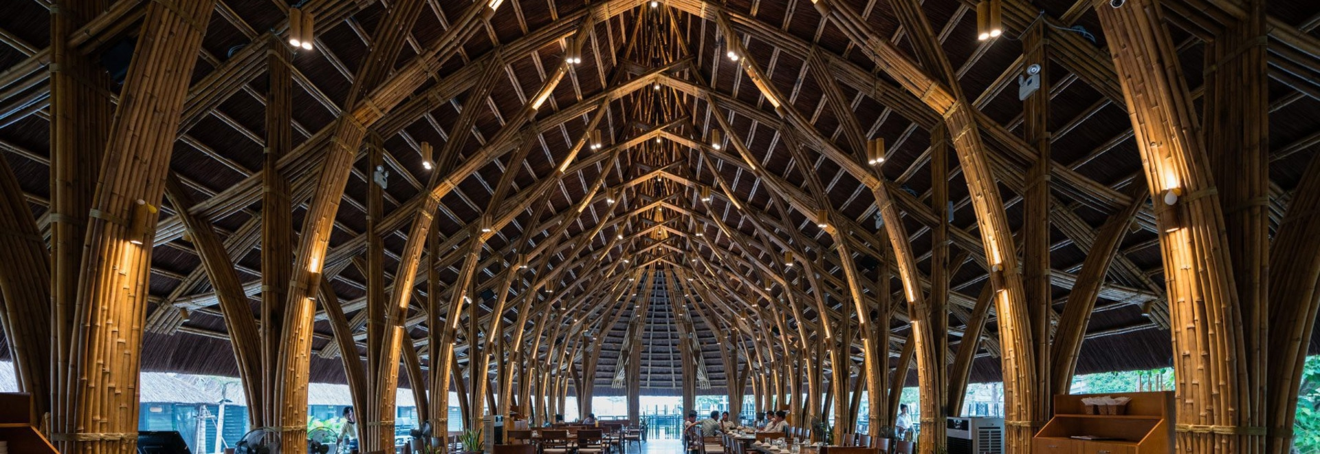prefabricated bamboo components comprise this restaurant in vietnam
