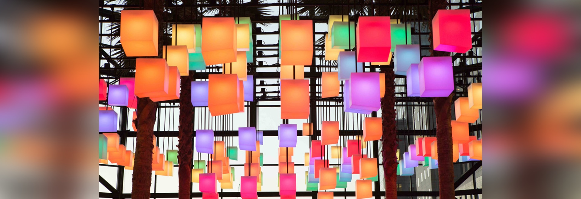 rockwell group creates canopy of 650 pulsating lanterns inside new